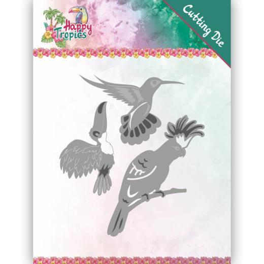 Dies - Yvonne Creations - Happy Tropics - Exotic Birds  YCD10175  Formaat ca. 8,7 x 9,7 cm