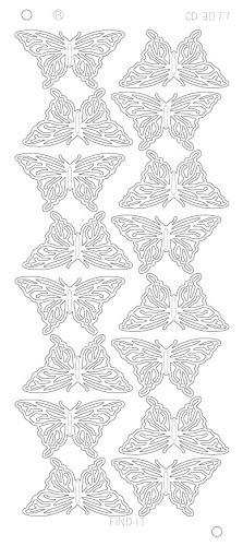 CD3077 Butterflies Large Platinum zilver