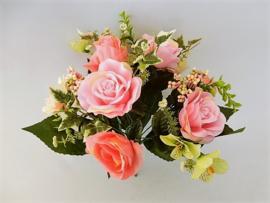 Boeket roos zalm van MICA kunstbloemen kunstplanten