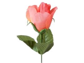 Roosjes klein zalm/roze kunstbloemen