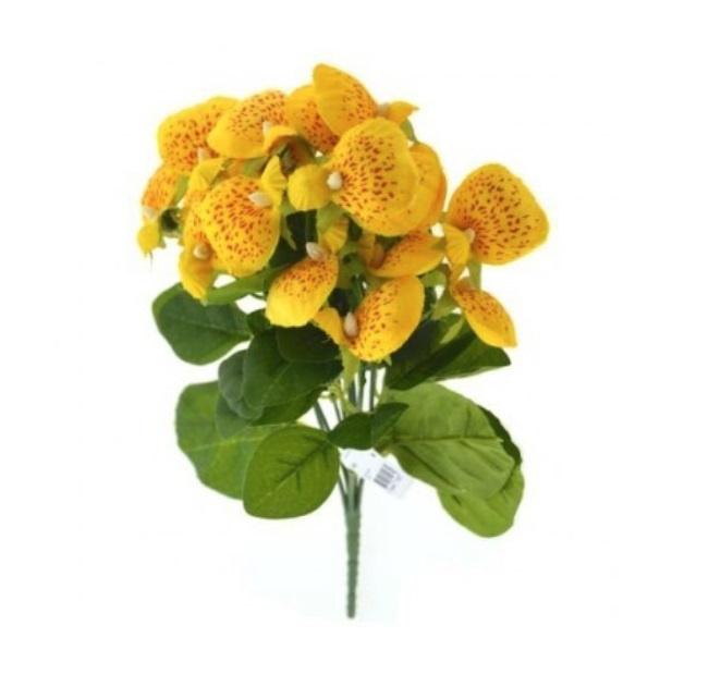 Pantoffelplant geel kunstplanten kunstbloemen