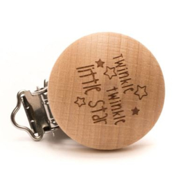 Durable houten speenclip 'Twinkle twinkle little star' (2 stuks)