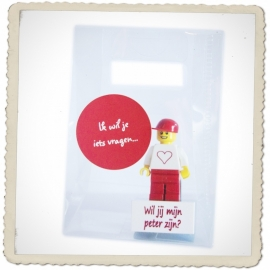 """Lego minifig. """"Wil jij mijn peter zijn?"""""""