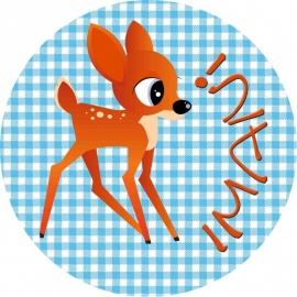 Sleutelhanger met naam rond / bambi