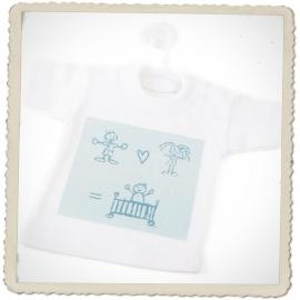 Mini t-shirtje Baby Op Komst (lichtblauw)