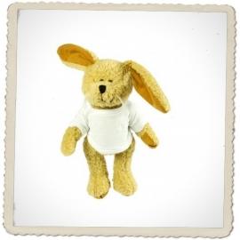Pluche konijn incl. mini t-shirtje met je persoonlijke echo en tekst naar keuze!