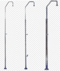 Rvs douches met 1 automatisch sluitende drukkraan