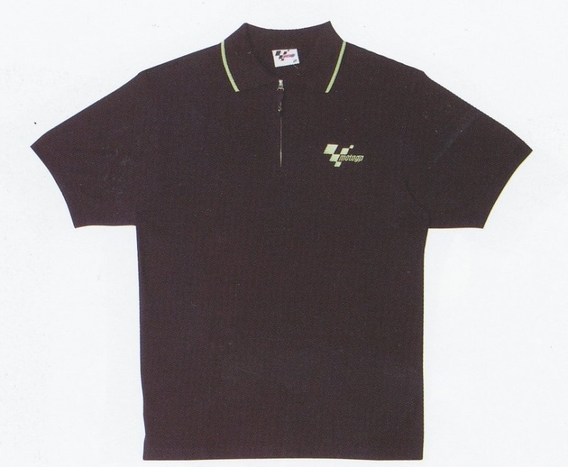 Motogp Logo Zip Black Polo Polo Shirt Valentino Rossi Fanshop