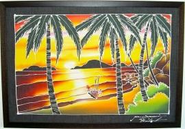 Batik schilderij in houten lijst (86 X 60 cm)