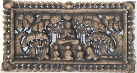 Houtsnijwerk - Boeddhapaneel (2-99 antique)