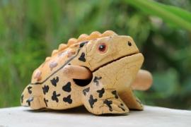 Houten kikker 11 cm (lichtgeel gevlekt)