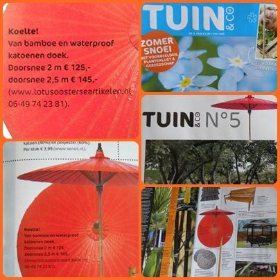 Parasol in het blad Tuin & Co, mei 2009