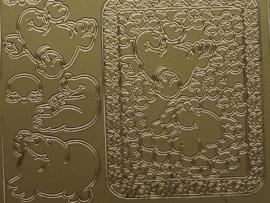 st495- zeehondjes goud 10x20cm