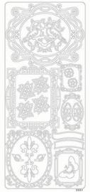 st788-B- stickervel met fotolijstjes en diverse afbeeldingen zwart 10x23cm - 121001/0293