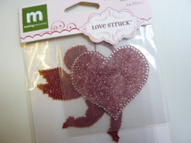 005836- 2 stuks love struck glitter stickers van 6cm OPRUIMING