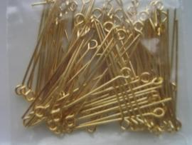 ca 90 x kettelstiften 34mm goudkleur NIK