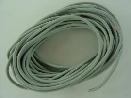 5 meter echt leren veter zilvergijs van 2mm dik - AA+ kwaliteit - SUPERLAGE PRIJS!