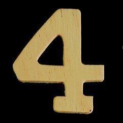8735 638- 4cm houten cijfer 4