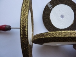 rol met 22.86 meter brons/goud satijnlint van 6mm breed OPRUIMING