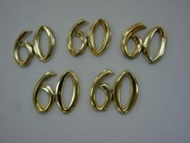 SLK.116- 5 stuks sierletters 60 goudkleur 15mm hoog