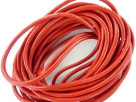 5 meter echt leren veter rood van 3mm dik - AAA kwaliteit - SUPERLAGE PRIJS!
