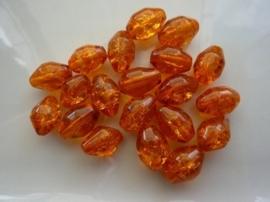 4061- 20 x qraccle glaskralen ovaal 12x8mm gevlekt oranje - SUPERLAGE PRIJS!