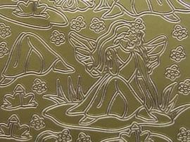 st493- bloemen meisje goud 10x20cm