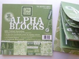 05972- 24 vel Alpha-blocks stansvellen en deco groen 20x20cm OPRUIMING