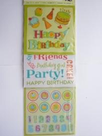 """5616- 3 stickervellen K&Co flippuck """"birthday party"""" 12x30cm"""
