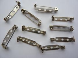 26 mm - 10 stuks brochespeldjes met veiligheids sluiting staalkleur