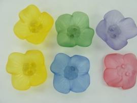 00012 - 6 stuks opnaai bloemen van 28mm kleurenmix