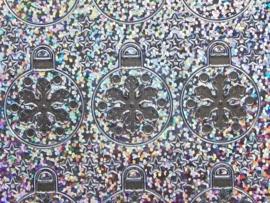 st685- holografische stickers kerstballen zilver 10x20cm