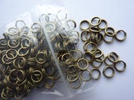 200 x dubbele ringetjes 6mm geelbrons - SUPERLAGE PRIJS!