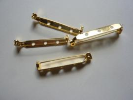32mm - 4 stuks brochespeldjes goudkleur met veiligheids sluiting