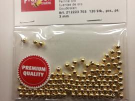 2223 703 - 120 stuks wax parels van 3 mm. - goud - premium kwaliteit