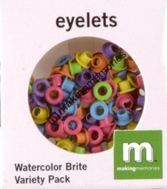 1863 1044- 100 x mini eyelets assorti primary helder 3.2x3.2mm