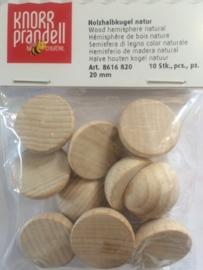 KN8616 820- 10 stuks halve houten ballen zonder gat 20mm