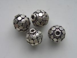 zware massieve metalen kraal rond met rondjes 14mm 117465/0210