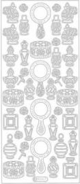 st869- stickervel met spiegels en parfumflesjes goud 10x23cm  -  121001/0742
