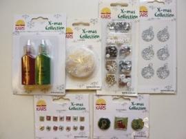 005845- setje met diverse Xmass collection accessoires 6 stuks div. kleuren OPRUIMING