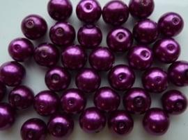 2172- 30 x glasparels 10mm rond donker violet - SUPERLAGE PRIJS
