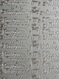 st988- stickervel met tekst voorspoedig nieuwjaar 10x23cm zilver