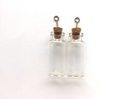 CE453101/2305- 2 stuks glazen flesjes hangers 18x40mm