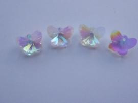 117471/0836- 4 x geslepen kristal glashangers vlinders 14x11x8mm OPRUIMING