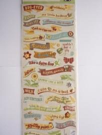 """5635- K&Co embossed stickers """"wild saffoon"""" diverse teksten 32 stuks 11x30cm"""