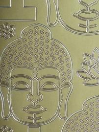 st976- stickervel met diverse boeddha figuren 10x23cm goud