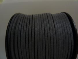 3 meter imitatie suede veter van 3mm breed donkergrijs