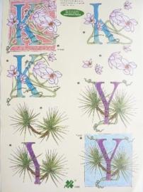 """kn/791- A4 3D knipvel klaver vier """"letters K + Y"""" OPRUIMING"""