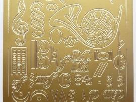 ST.1133- muziekinstrumenten goud 10x20cm