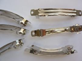 25 x haarclip / haarklem om zelf te versieren 7.5cm staalkleur - SUPERLAGE PRIJS!